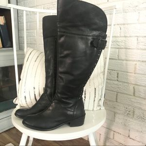 Black Leather BX Studded Riding knee Boots…